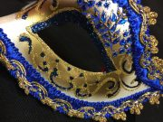masque vénitien, loup vénitien, masque carnaval de venise, véritable masque vénitien, accessoire carnaval de venise, déguisement carnaval de venise, loup vénitien fait main Venitien, Civette Giada, Bleu