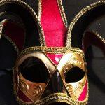masque vénitien, loup vénitien déguisement, masque venitien homme, acheter masque vénitien paris, masque vénitien femme, boutique masque vénitien paris, masque vénitien fait main Vénitien, Joker Mini, Rouge et Noir