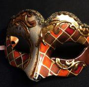 masque vénitien, loup vénitien déguisement, masque venitien homme, acheter masque vénitien paris, masque vénitien femme, boutique masque vénitien paris, masque vénitien fait main Vénitien, Civette Mini, Mosaïque Orange