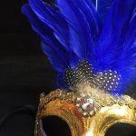 masque vénitien, loup vénitien, masque carnaval de venise, masque vénitien déguisement, accessoire déguisement carnaval de venise, déguisement carnaval de venise, masque vénitien fait main, masque plumes Vénitien, Colombina Sissi à Plumes, Bleu