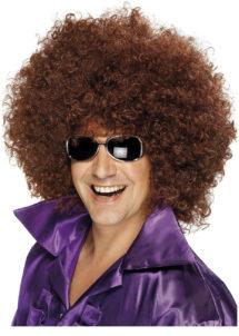 perruque disco, perruque afro châtain, perruque disco homme, Perruque Afro Huge, Disco, Châtain