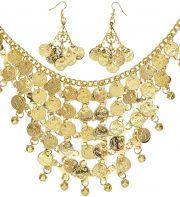bijou oriental déguisement, accessoire oriental déguisement, déguisement oriental, accessoire danseuse du ventre, déguisement oriental femme, collier oriental femme déguisement Collier Oriental avec Boucles, Pièces d'Or