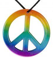 collier hippie déguisement, collier hippie et boucles d'oreilles hippies, collier peace and love, accessoires déguisement hippie, accessoires hippie, collier déguisement hippie, collier déguisement années 70, accessoire hippie déguisement Collier Hippie, Peace & Love Arc en Ciel
