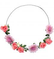 couronne de fleurs, accessoire fée déguisement, accessoire déguisement fée, accessoire hippie déguisement, accessoire déguisement hippie, accessoire couronne de fleurs, bandeau fleurs déguisement Bandeau Couronne de Fleurs, avec Feuilles