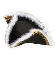 chapeau tricorne, chapeaux tricornes, tricornes noirs, chapeaux vénitiens, accessoires déguisements chapeaux, accessoire venise déguisement, chapeau tricorne Chapeau Tricorne, Galon Or et Plumes