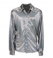 chemise disco satin, chemise disco déguisement, déguisement disco homme, chemise disco pour homme, accessoire disco déguisement homme, chemise argent disco, chemise argent hologramme Déguisement Disco, Chemise Argent