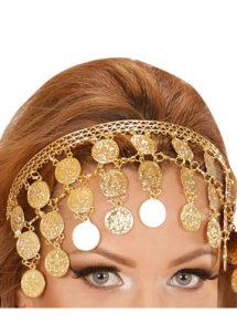 bandeau oriental déguisement, accessoire oriental déguisement, déguisement oriental, accessoire danseuse du ventre, déguisement oriental femme, collier oriental femme déguisement, coiffe orientale femme, Bandeau de Tête Oriental, Pièces d'Or