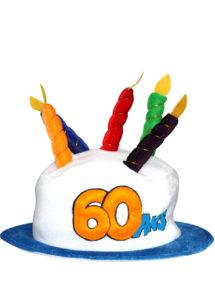 chapeau anniversaire, chapeau gâteau d'anniversaire, accessoire pour anniversaire, chapeau bougies 60 ans, accessoire 60 ans anniversaire, accessoire anniversaire 60 ans, chapeau anniversaire 60 ans, Chapeau Anniversaire, 60 ans
