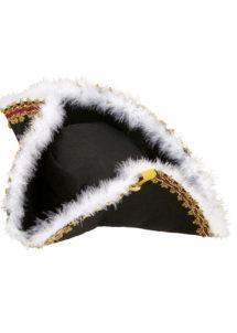 chapeau tricorne, chapeaux tricornes, tricornes noirs, chapeaux vénitiens, accessoires déguisements chapeaux, accessoire venise déguisement, chapeau tricorne, Chapeau Tricorne, Galon Or et Plumes