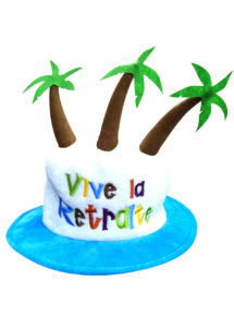 chapeau vive la retraite, accessoire retraite déguisement, cadeau retraite, retraite humour déguisement, accessoire retraite humour, Chapeau Vive la Retraite, avec Palmiers
