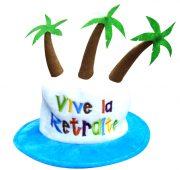 chapeau vive la retraite, accessoire retraite déguisement, cadeau retraite, retraite humour déguisement, accessoire retraite humour Chapeau Vive la Retraite, avec Palmiers
