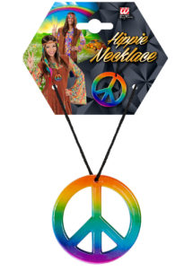 collier hippie déguisement, collier hippie et boucles d'oreilles hippies, collier peace and love, accessoires déguisement hippie, accessoires hippie, collier déguisement hippie, collier déguisement années 70, accessoire hippie déguisement, Collier Hippie, Peace & Love Arc en Ciel