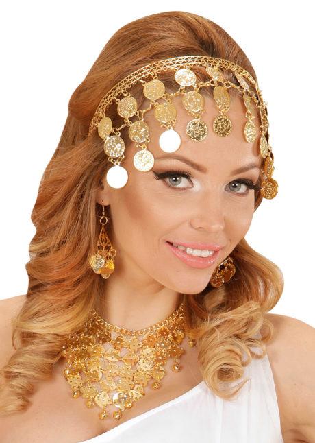 bijou oriental déguisement, accessoire oriental déguisement, déguisement oriental, accessoire danseuse du ventre, déguisement oriental femme, collier oriental femme déguisement, Collier Oriental avec Boucles, Pièces d'Or