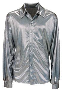 chemise disco satin, chemise disco déguisement, déguisement disco homme, chemise disco pour homme, accessoire disco déguisement homme, chemise argent disco, chemise argent hologramme, Chemise Disco, Argent