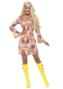 déguisement hippie femme, costume de hippie femme, déguisement robe hippie femme, soirée à thème hippie, Déguisement Hippie Flowers