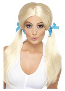 perruque écolière, perruque blonde, perruque couettes femme, perruque d'écolière, perruque pour femme, Perruque Ecolière, Couettes Blondes