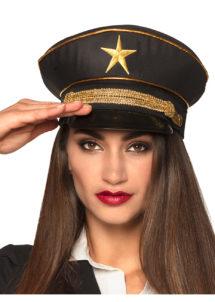 casquette militaire déguisement, casquette russe déguisement, casquette déguisement militaire, accessoire déguisement militaire, Casquette Militaire Noire, avec Etoile et Galons Or