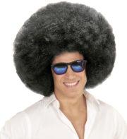 perruque afro noire, perruque afro homme, perruque afro années 80, perruque disco, perruque afro Perruque Afro Extravolume, Noire