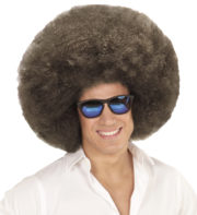 perruque afro châtain, perruque afro homme, perruque afro années 80, perruque disco, perruque afro Perruque Afro Extravolume, Châtain