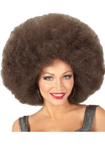 perruque disco, perruque afro châtain, perruque disco homme, Perruque Afro Extra Volume, Châtain