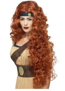 perruque rousse, perruque rousse femme, perruque cheveux longs rousse, perruque médiévale, Perruque Médiévale Guerrière, Rousse