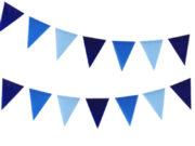 guirlande fanions, guirlande décoration, guirlande chambre fille, guirlande babyshower, décoration babyshower, guirlande anniversaire Guirlande Fanions Bleus, 3 Tons