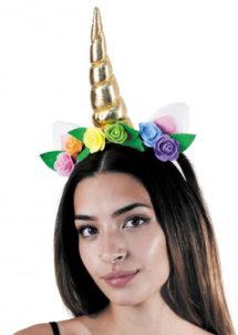 licorne déguisement, déguisement de licorne, accessoire licornes, serre tete de licorne, corne de licorne déguisement, déguisement de licornes, Corne de Licorne Dorée avec Fleurs