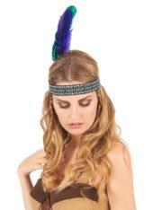 bandeau plume d'indien, accessoire déguisement indienne, bandeau indien à plume, accessoire déguisement, déguisement d'indien, déguisement d'indienne, plumes d'indien, coiffe indienne Bandeau d'Indien à Plumes Verte et Violette