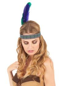 bandeau plume d'indien, accessoire déguisement indienne, bandeau indien à plume, accessoire déguisement, déguisement d'indien, déguisement d'indienne, plumes d'indien, coiffe indienne, Bandeau d'Indien à Plumes Verte et Violette