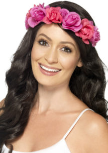 couronne de fleurs, accessoire fée déguisement, accessoire déguisement fée, accessoire hippie déguisement, accessoire déguisement hippie, accessoire couronne de fleurs, bandeau fleurs déguisement, Bandeau Couronne de Fleurs, Rose