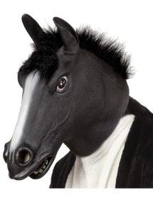 masque de cheval noir, masque de cheval, masques d'animaux, masque animal latex, Masque de Cheval Noir, Latex