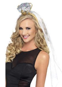 bride to be, enterrement de vie de jeune fille, accessoires evjf, serre tete voile original, serre tête diamant, Bague Diamant sur Voile de Mariée