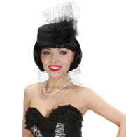 années 30 chapeau, déguisement années 30, chapeau de veuve déguisement, chapeau voilette déguisement, accessoire chapeau voilette déguisement, chapeau femme déguisement Chapeau Gatsby ou Veuve, Voilette Noire