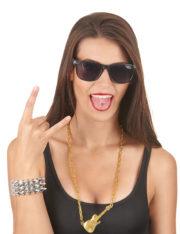 collier guitare bling bling, déguisement rock, fausse chaine en or, déguisement musicien, accessoire rock déguisement Collier Doré, Pendentif Guitare