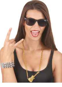 collier guitare bling bling, déguisement rock, fausse chaine en or, déguisement musicien, accessoire rock déguisement, Collier Doré, Pendentif Guitare