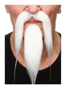 fausses moustaches, postiche, ausses moustaches réalistes, fausse moustache blanche, moustache luxe, moustache blanche, Moustache et Bouc de Chinois, Luxe, Blanche