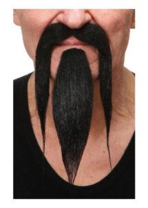 fausses moustaches, postiche, ausses moustaches réalistes, fausse moustache noire, moustache luxe, moustache noire, Moustache et Bouc de Chinois, Luxe, Noire