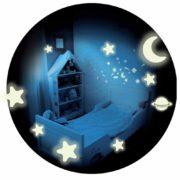 kit décorations plafonds phosphorescentes, étoiles phosphorescentes, décos plafond phosphorescent, cadeaux gouters d'anniversaire Déco Etoiles, Planètes et Lunes Phosphorescentes
