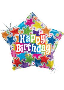 ballon hélium, ballon anniversaire, ballon aluminium, ballon happy birthday, ballon étoile, Ballon Anniversaire, Etoile Happy Stars, en Aluminium