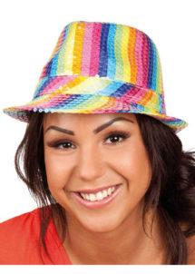 chapeau arc en ciel, chapeau paillettes arc en ciel, chapeau gaypride, chapeau marche des fiertes, Chapeau Paillettes Arc en Ciel
