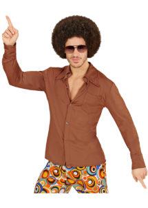 chemise disco homme, chemise disco beige, chemise disco, déguisement disco, Chemise Disco, Groovy 70, Marron