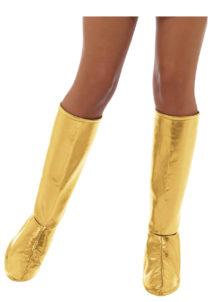 accessoire disco, surbottes disco femme, bottes années 70 femme, déguisement disco femme, bottes argent disco déguisement femme, Surbottes Disco, Or Métal
