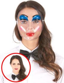 masque transparent, masque halloween, masque visage femme, masque visage adulte, Masque Transparent, Femme Make Up Bleu