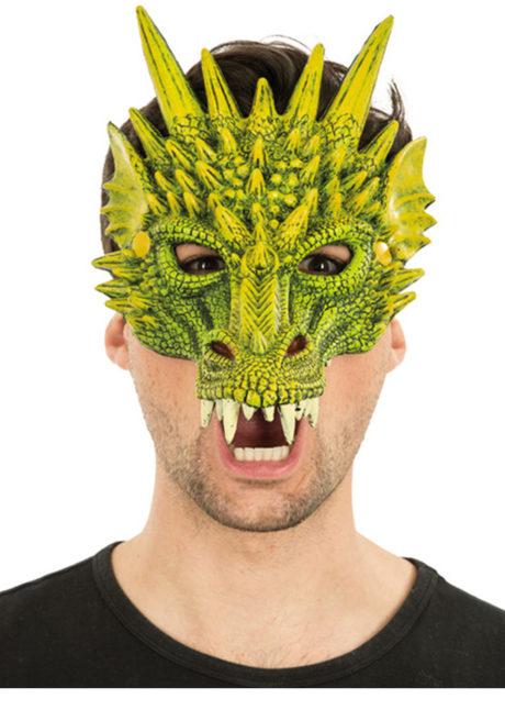 masque de dragon, masque dragons halloween, masque halloween, masques de dragons, masque de monstre, Masque de Dragon Vert, Demi Visage