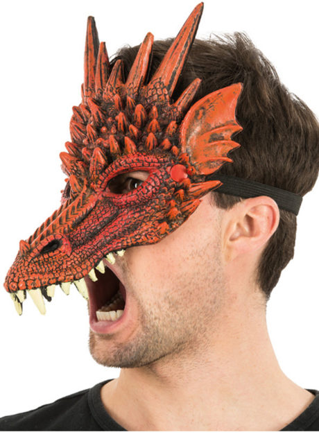 masque de dragon, masque dragons halloween, masque halloween, masques de dragons, masque de monstre, Masque de Dragon Rouge, Demi Visage