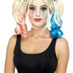 perruque harley quinn, perruque couettes roses et bleues, perruque harley quinn, perruque déguisement harleyquinn Perruque Arlequine H Quinn, Rose et Bleue