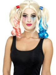 perruque harley quinn, perruque couettes roses et bleues, perruque harley quinn, perruque déguisement harleyquinn Perruque Arlequine H Quinn, Rose et Bleue