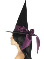 chapeaux halloween, chapeaux de sorcière, accessoires sorcières, déguisement de sorcière, chapeaux de sorcellerie, chapeau de sorcière pour halloween, beau chapeau de sorcière Chapeau de Sorcière, Noeud Satin Violet