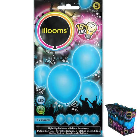 ballons à led, ballons lumineux, ballons fluos, ballons de baudruche, ballons hélium, ballons anniversaires, ballons lumineux Ballon à LED, Bleu, X 5