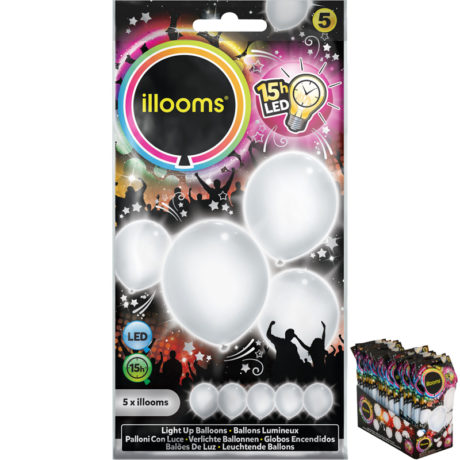 ballons à led, ballons lumineux, ballons fluos, ballons de baudruche, ballons hélium, ballons anniversaires, ballons lumineux Ballon à LED, Blanc, x 5